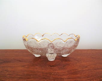 Louisa Jeannette Glass Company Clear with Gold Trim Floragold 4 Toed Open Candy Dish Oval Scalloped Bowl with Feet