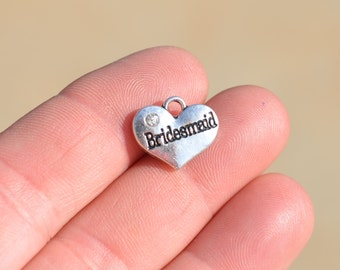 1  Bridesmaid Silver Tone Heart  Charm SC3356