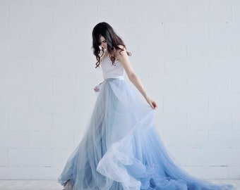 Nora - ombre wedding dress / lace and tulle wedding dress / custom ombre dyed bridal gown / dusty blue bridal gown / open back wedding gown