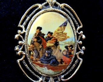 Washington Crossing The Delaware Porcelain Brooch And Pendant George Washington Patriotic Brooch