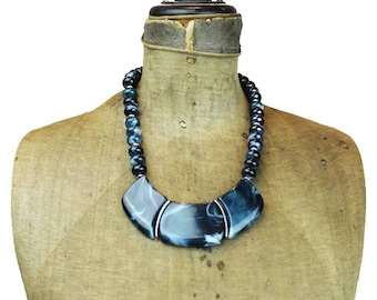 Vintage Blue Bead Necklace, Chunky Blue and Silver Necklace, Blue Bib Necklace, Blue Necklace