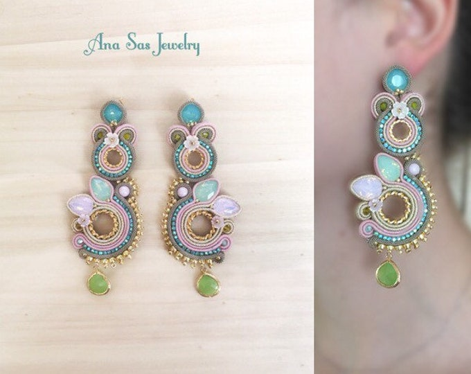 Statement beige and pastel soutache earrings, Swarovski opal pink and green crystals, Swarovski pearls, gold plated elements