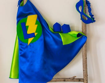 Super Hero Set, personalized. Cape & Crown or Mask. Royal blue and Lime green. Custom Cape. Imaginative play. Dress-up. Role Playing.
