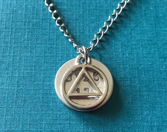 Recovery AA Necklace Alcoholics Anonymous Gifts for Men Women cBn6LD
