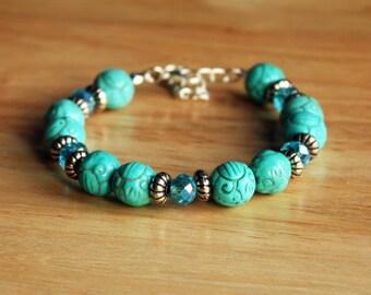 Turquoise and Tibetan Silver Bracelet