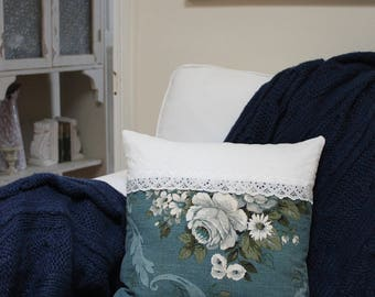 Vintage Blue Sanderson ROSES LINEN & 1900's Wedding Lace CUSHION