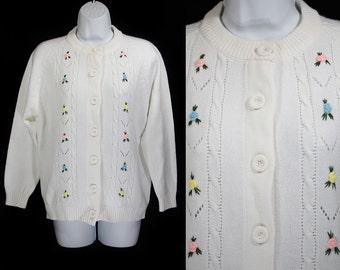 Vintage 70's KMART White Cardigan w/ Colorful Flowers L