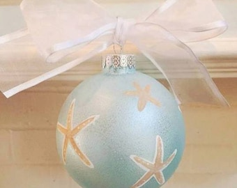 Coastal Christmas Ornament - Light Blue with Starfish