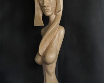 Wood Sculpture – Stylized Female Torso - SEMIRAMIS