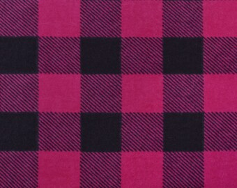 Pink and Black Buffalo Check FLANNEL Fabric by the yard