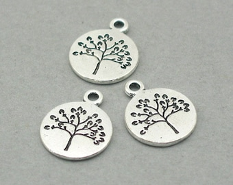 10 Tree Charms, Tree of Life Disc pendant beads, Antique Silver 15mm CM0809S