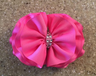 Hot Pink Wavy Ruffle Bow Pink Ruffle Rhinestone Bow Easter Hair Bows Flower Girl Bows