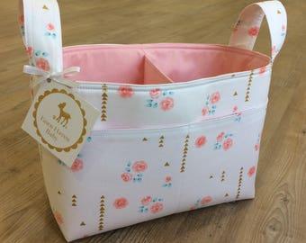 diaper caddy ~ fabric basket~ coral mint gold floral fabric divided basket ~ nursery storage ~ toy organizer ~ nursery decor ~ storage caddy