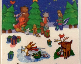 Forget Me Not Holiday Stickers Woodland Animals American Greetings 4 Sheets NIP
