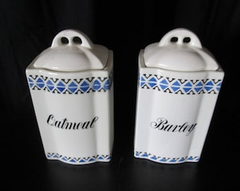 Vintage Antique White Blue Ceramic Kitchen Canisters (Set of 2) made in Germany