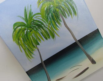 Tropical Beach Painting Original Painting 8 x 10  .5in  Acrylic Painting Beach Decor Cottage Decor