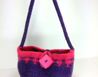 Hand Knit and Felted Purse Handbag Pink and Purple Girls and Ladies Bag