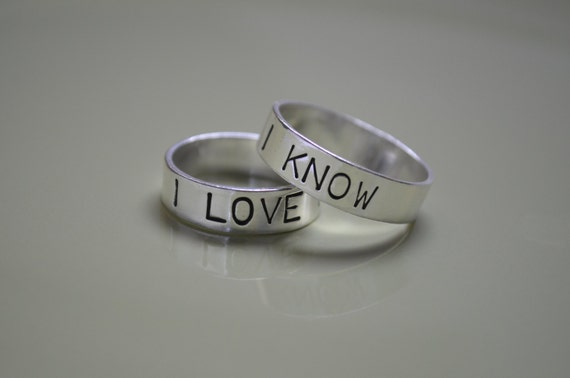 Couples Ring Star Wars Rings Sterling Silver Ring I love