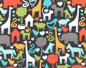 Michael Miller Safari Friends Charcoal Animal World Fabric - 1 yard