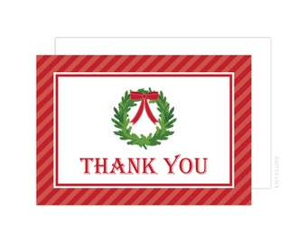 Christmas Cheer - Wreath Christmas Thank You Cards, Holiday Thank You Card, Folded Note Card, Christmas Thank You