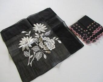 Vintage Ladies Handkerchief-Hankie-Hanky-Floral-Set of 2-Unused-Tags-Black-Mourning
