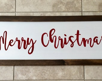 Merry Christmas wood framed sign