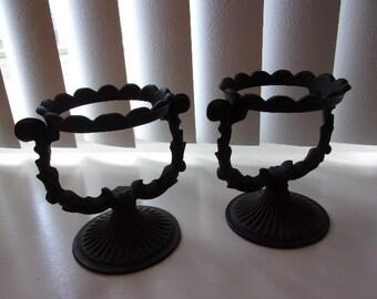 Vintage Cast Iron Oil Lamp Holders