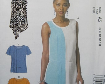McCall's M7196 - Misses' Tops and Tunics pattern in sizes 6-8-10-12-14. Loose fitting with hem and sleeve alterations. Uncut.