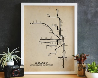 Vintage Inspired Chicago CTA Map, Chicago Wall Art, Chicago Map, CTA Art