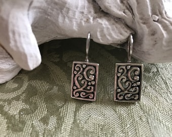 FIligree Sterling Silver French Wire Earrings