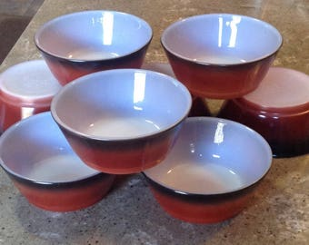 Vintage Fire King Cereal Bowl Set of 8 Red Brown Anchor Hocking Glass