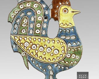 French Rooster Wall Tile Sgraffito Ceramic Signed Dominique Perot BITOSSI Style Vintage Mid Century Modern