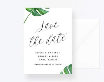 Custom save the date, Printable Save the Date, Personalized save the date, Greenery Save the Date, Tropical Wedding Printable, Wedding Card