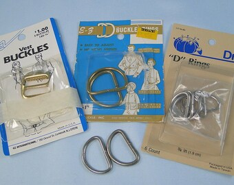 Lot of D-Rings Buckles Vintage in Original Packages
