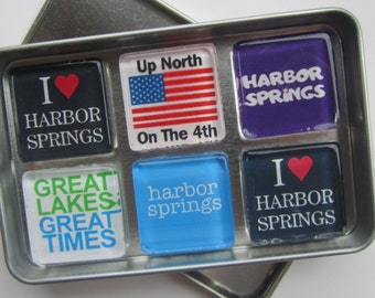 HARBOR SPRINGS, Up North, Charlevoix, Petoskey, Harbor Springs, Mackinac Island, Great Lakes, Fridge Magnets Set, Northwest Michigan