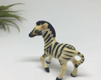 Miniature Zebra Figurine - Bone China - Ceramic Animal - Japan