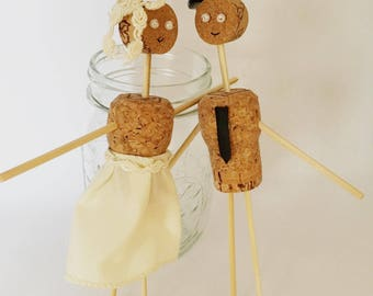 Cork Wedding Cake Toppers, Rustic, Wedding, Wine Themed Wedding, Champagne Cork