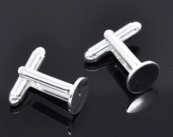 10 Cuff Links - WHOLESALE - Silver Plated - Glue on Settings - 25x10mm - 10mm Pad - Ships IMMEDIATELY  from California - A304a