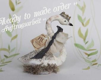 Travaux de commande ++ coton nostalgique figure mariage de boho Swan cake topper