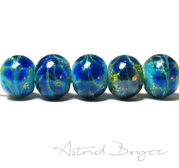 Lapis Blue Drift Rounds - Handmade Artisan Lampwork Beads- SRA -B-195 - Blue glass with Silver - Craft Supplies & Tools -  Free Shipping USA