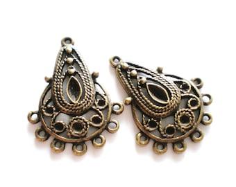 Earring chandelier drop jewelry supplies 6  earring dangles antique bronze metal 21mm 28mm (F6)