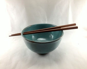 Handmade, Stoneware, Turquoise Noodle/Rice Bowls with Chopsticks.  These are ready to ship.