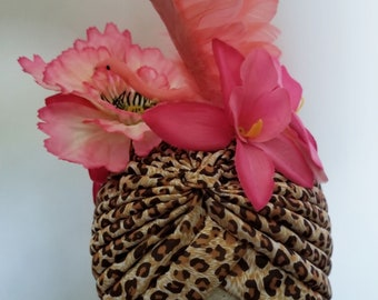 Turban, Leopard print, Flamingo, Flamingo turban, Kawaii, Kitsch, Tiki, Tiki turban, Tropical island, Pinup, Rockabilly
