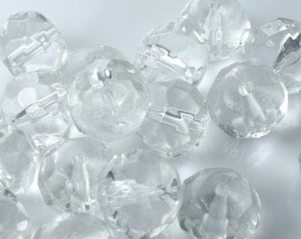 Clear Faceted Glass Rondelles