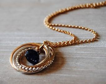 5 Ring Sapphire Necklace, September Birthday Gift, Sapphire Gemstone, 50th Birthday Necklace, 5 Rings Necklace, Blue Gemstone, Gift for Mom