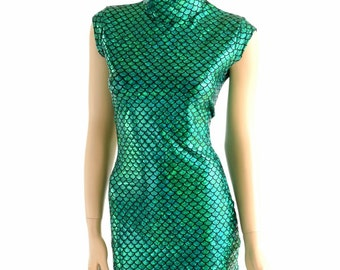 Green Scale Celia Dress with Mock Turtle neck and Mini Cap Sleeves  152887