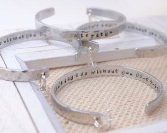 Bridesmaid Set Personalized Silver Cuffs With Charms - Bridal Jewelry - Wedding Keepsakes - Mother of the Bride Maid of Honor Gifts