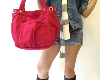 Red Canvas messenger bag ,Canvas  diaper bag , women School bag, cross body purse ,shoulder bag for her /Sale 25 % - no.13 ANNA