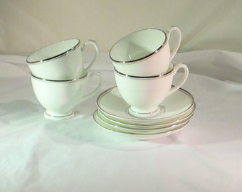 Brand New - Never Been Used - Waterford Kilbarry Platinum Cup & Saucer Set of 4