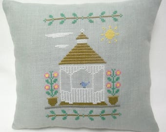 Gazebo Cross Stitch Mini Pillow, Spring Summer Decor, Flowers, Outdoor Structure